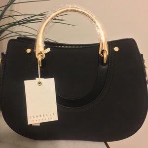 Handbags - BNWT Vegan Black Leather Gold Metal Handle Handbag